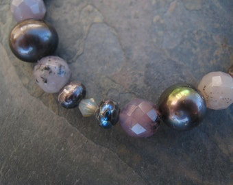 Black moss opal and pearl bracelet
