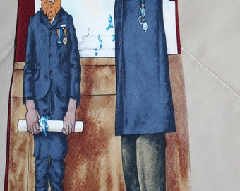 Norman Rockwell Mans Necktie neck tie all silk teacher head master school boy The Scholar