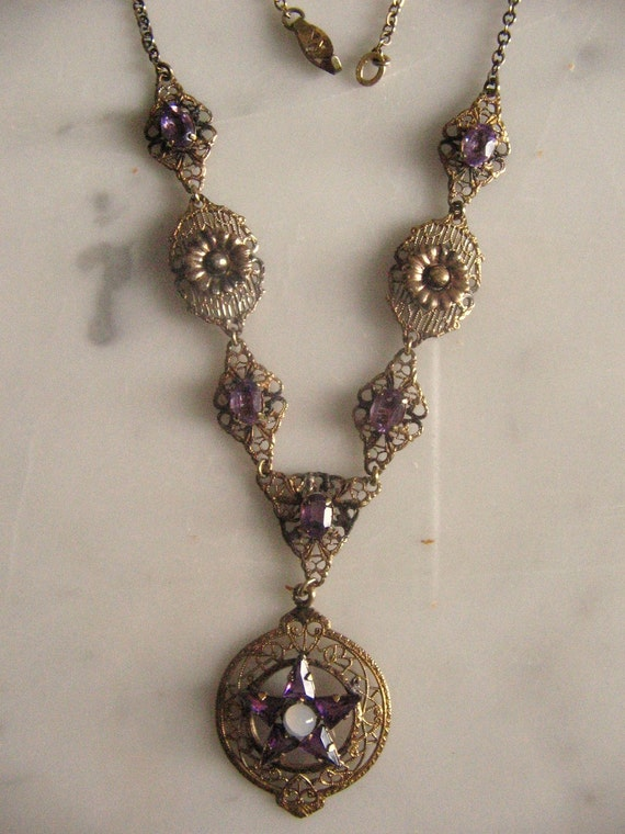 Antique Vintage Jewelry Amethyst Witch Pendant Necklace