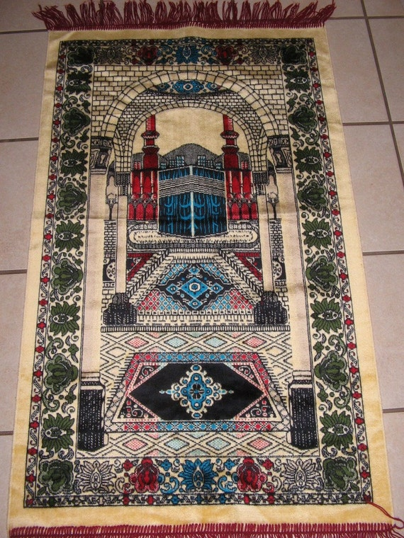 Vintage Turkish Islam Muslim Prayer Rug Mecca Sunrise Yellow