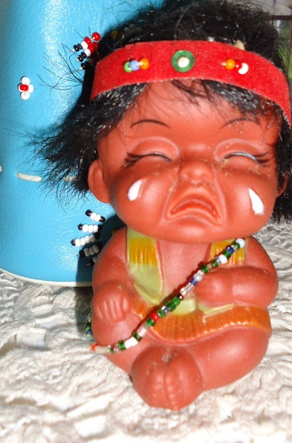 Toys And Tears : Vintage papoose native american indian toy doll crying baby