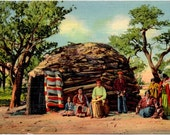 Vintage Postcard, Linen, Navaho Indians, 1930s