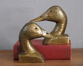 Vintage Brass Bookends, Duck or Goose Heads