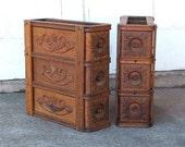 Vintage Sewing Machine Drawers, Framed, Storage, Organization, Set of Six