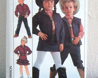 Simplicity Sewing Pattern, Childrens Size 5 Western Outfits