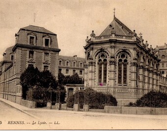 Vintage French Postcard, Rennes, Le Lycee, 1910s or 1920s