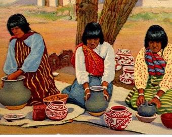 Vintage Postcard, Linen,  Pueblo Indian Women Making Pottery, 1930s
