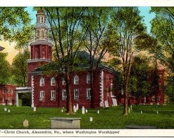 Vintage Postcard, Linen, Christ Church, Alexandria, Va. 1930s
