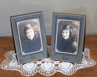 Vintage Studio Photographs, Young Woman,  Art Deco Studio Frames