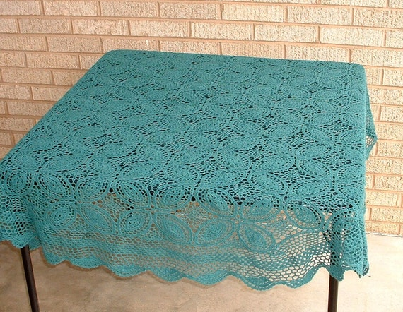 Hand Crocheted Round Table Cloth, 60 inches