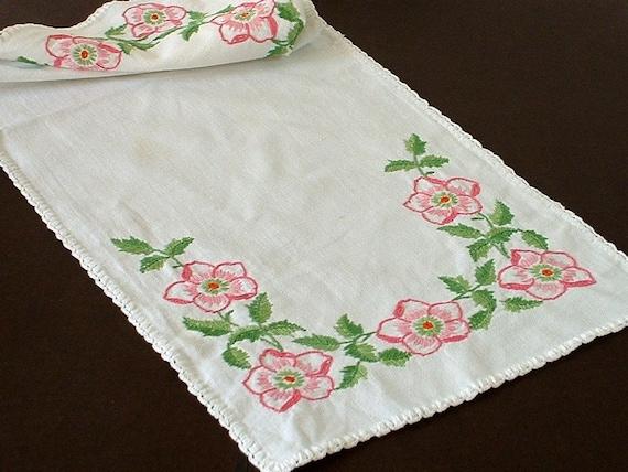 Vintage Dresser Scarf or Table Runner, Hand Embroidered, Floral