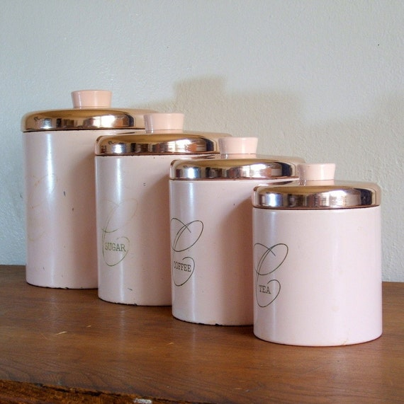 pink metal ransburg kitchen canister set by tagsalefinds white canister set chalk country ceramic 3 french kitchen