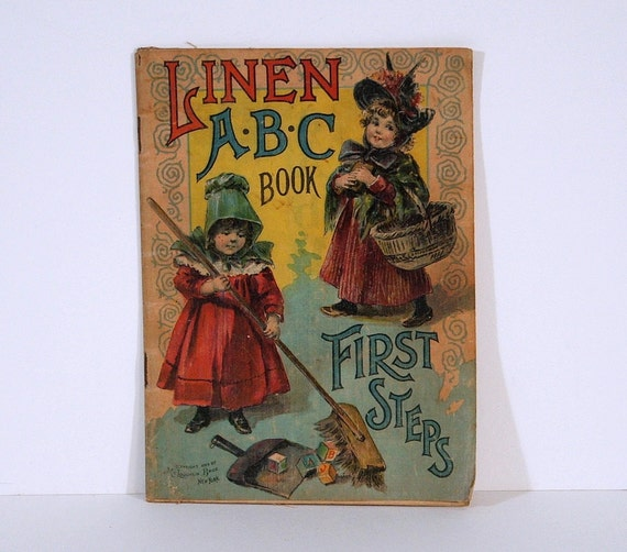 1899 Children's Book, Antique, Linen ABC Book