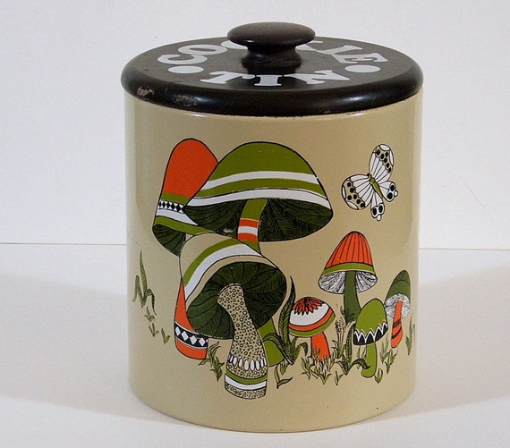 Metal Ransburg Cookie Tin, Mushroom Motif
