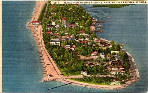Vintage Linen Postcard, Aerial View of Pass A Grille Beach Florida