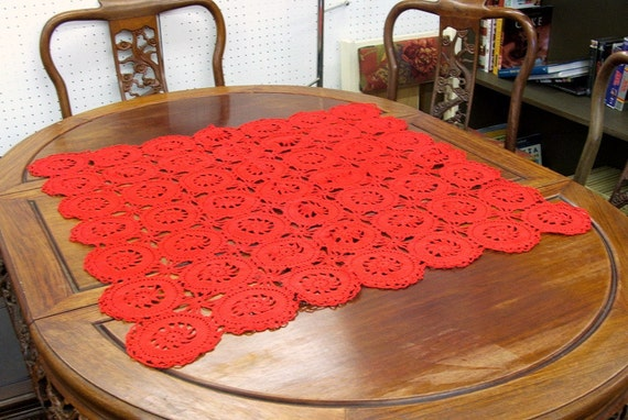 Vintage Hand Crochet Red Square Table Topper