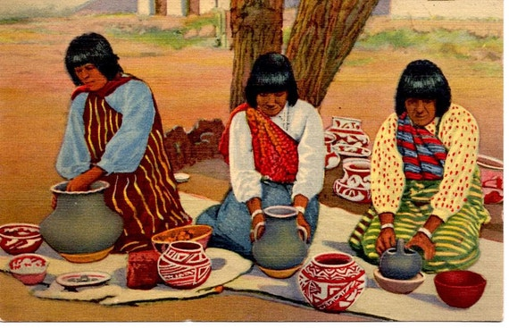 Vintage Postcard, Linen,  Pueblo Indian Women Making Pottery, 1930s