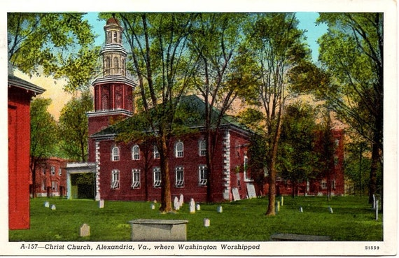 Vintage Postcard, Linen, Christ Church, Alexandria, Va. 1930s