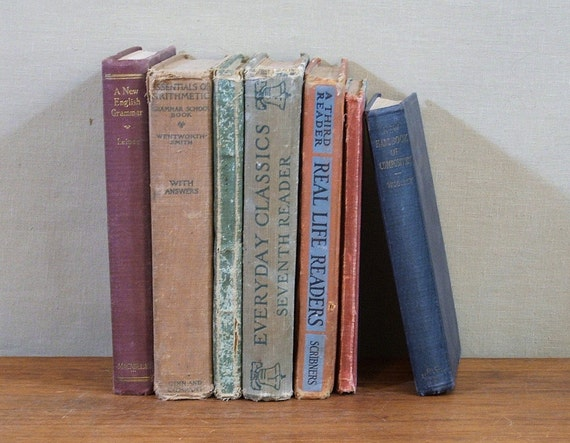 Antique Text Books, 1908 to1934, Collection of Seven