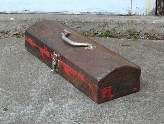 Vintage Tool Box, Metal, Organization, Storage, Rustic