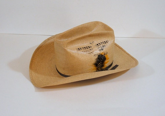 Vintage Mens Cowboy Hat, Bailey Western Hat, Bailey U Roll It Straw Hat