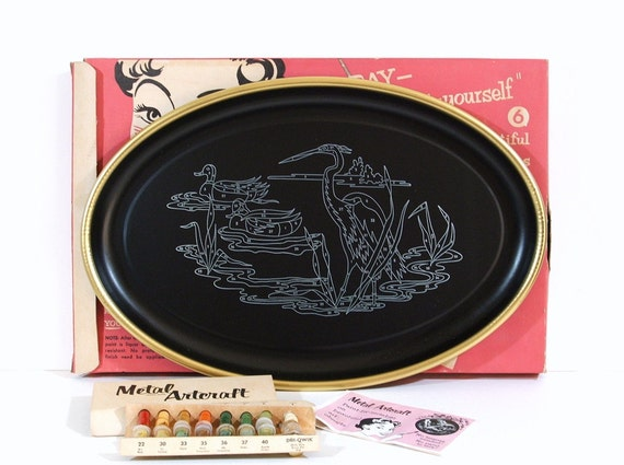 Vintage Metal Tray, Paint By Number, New Ready to Paint