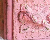 ornate handle vintage sewing drawer box shabby chic cottage french apartment pink decor distressed