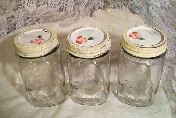 vintage  square pint masonn jars hand painted shabby chic lids