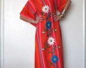 Vintage 70s Bohemian Red Orange Mexican Embroidered Caftan