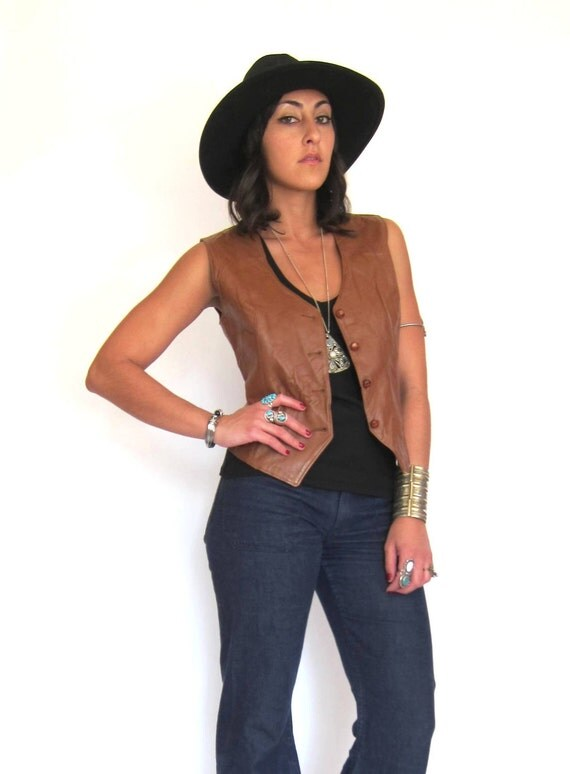 Vintage 70s Brown Leather Rocker Vest