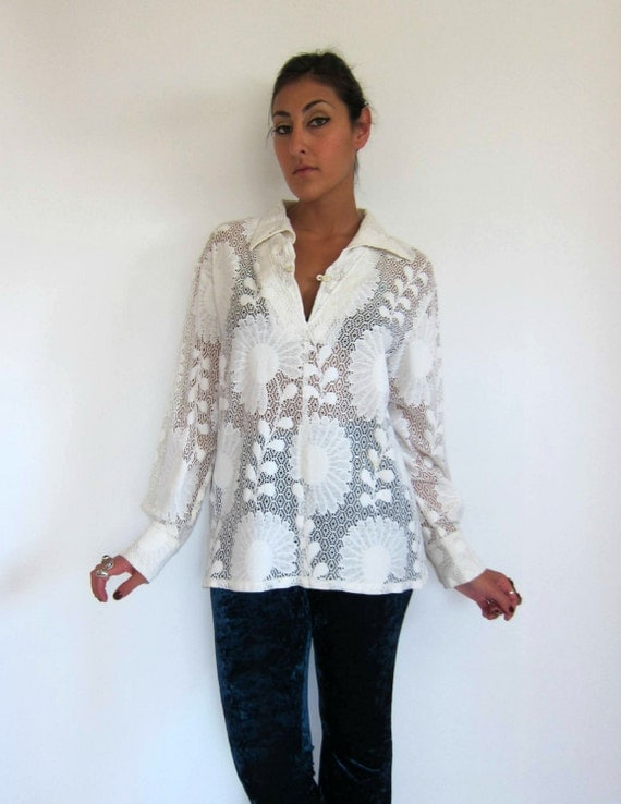 Vintage 70s White Lace Tunic