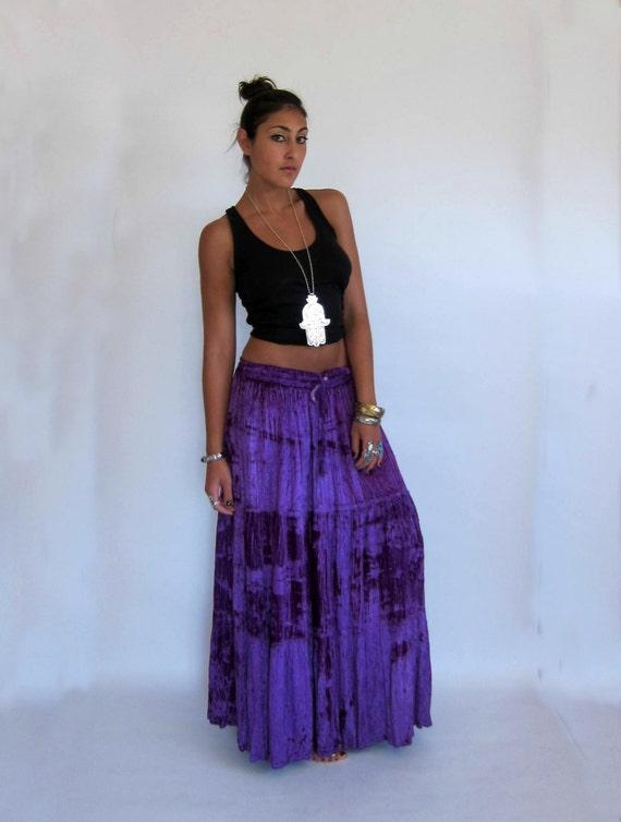 Vintage Purple Crushed VELVET Gypsy Maxi Festival Skirt