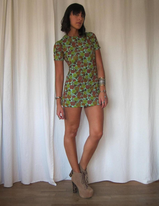 vintage 60s mod floral micro mini dress