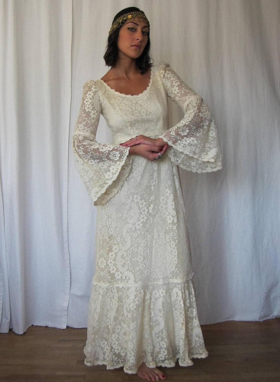 Vintage 70s bohemian bride lace bell sleeve wedding dress for Bell sleeve wedding dress