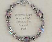 Bracelet - Swarovski Light Amethyst AB Crystal and Bali Silver