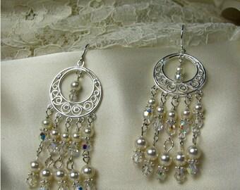SALE: Chandelier Earrings- Swarovski  Pearl