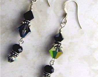 SALE-Earrings- Black and Vitrial Medium Dangles