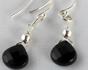 Black faceted Silver wrapped Teardrop Earrings