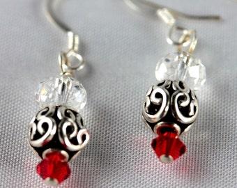 Red Swarovski and Bali Silver  Earrings