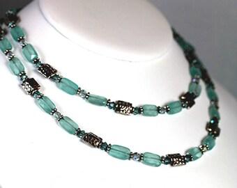 SALE Chalcedony Swarovski Crystal  and Bali Long Necklace