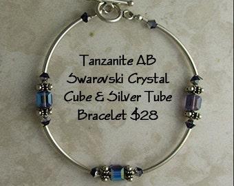 Bracelet- Swarovski Tanzanite AB Cube and Tube