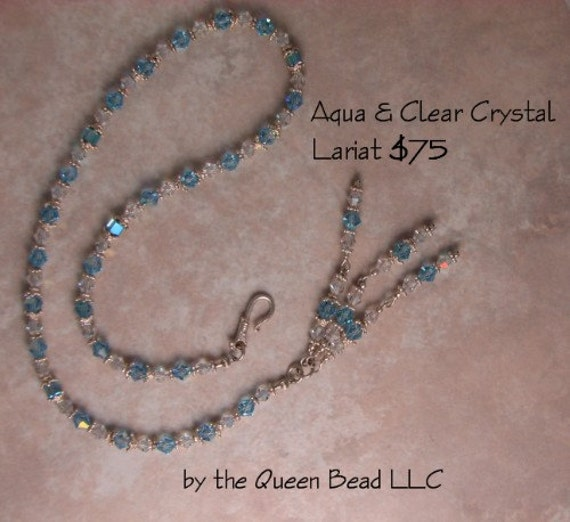 SALE Aqua and Clear Swarovski Crystal Tassle Lariat