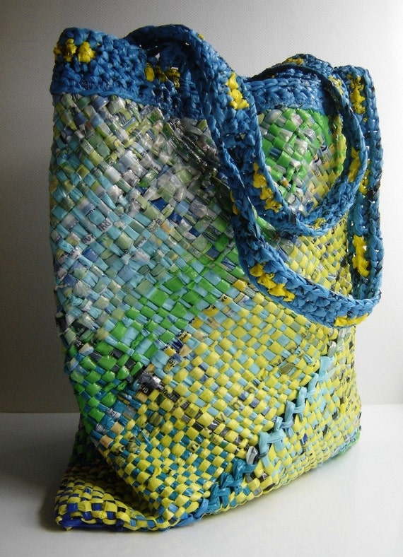 Plarn Tote - Yellow Green Blue - Lined