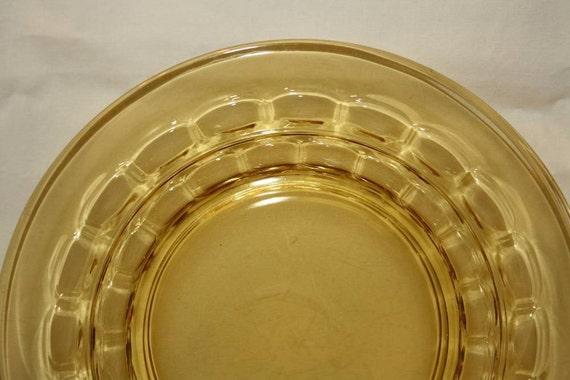 Six Amber Glass Plates