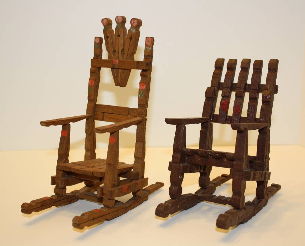 two folkart wooden clothespin rocking chairs. Black Bedroom Furniture Sets. Home Design Ideas