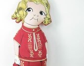 SALE - Vintage Inspired Fabric Doll and Pet Dog