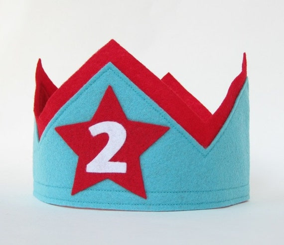 Second Birthday Felt Crown in Aqua Blue and Red