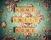 Scrabble Photography - Kitchen Photography - Home Sweet Home - Aqua - Blue - shabby chic -  8x10 Original Fine Art Photography