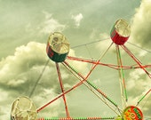 Carnival photography - circus photo - Ferris wheel home decor - red - green - sky blue - Star Struck