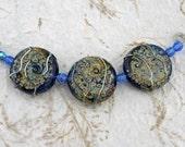Blue Lampwork Tabular Beads With Raku and Silver Glass